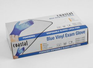 coastal blue vinyl exam gloves